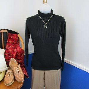 Vintage Rib Knit Back Zip Turtleneck Sweater